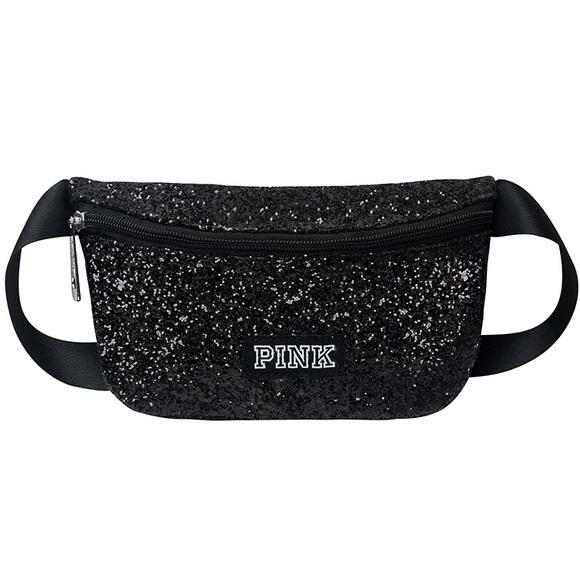 Victoria/'s Secret Pink Fanny Pack Black Multi Glitter Waist Bag Pouch